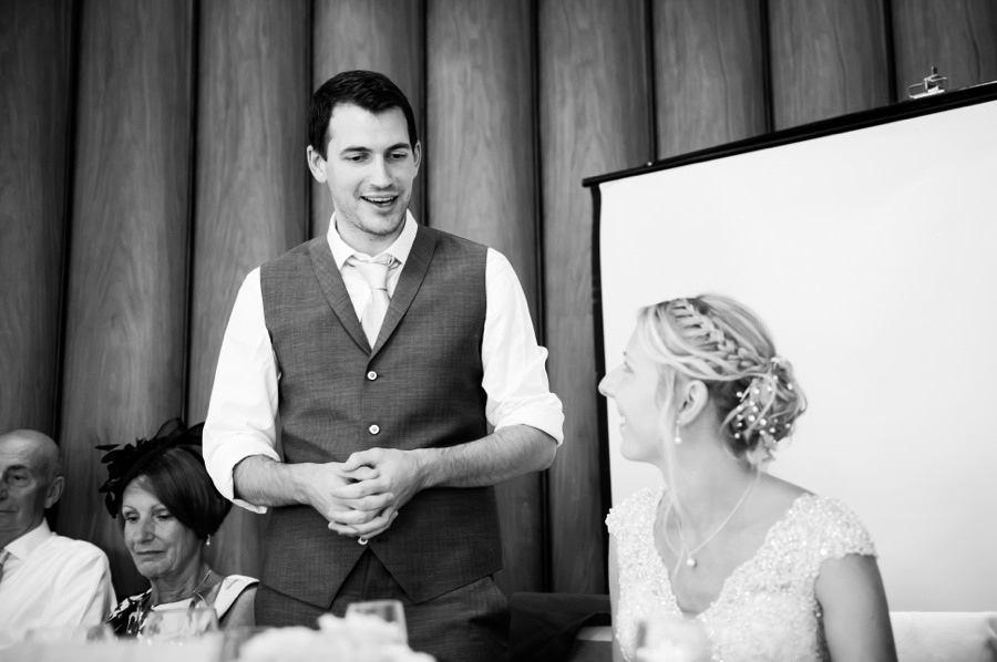 Groom giving his speech at a wedding in Portmeirion. Wedding Photographer, Celynnen Photography