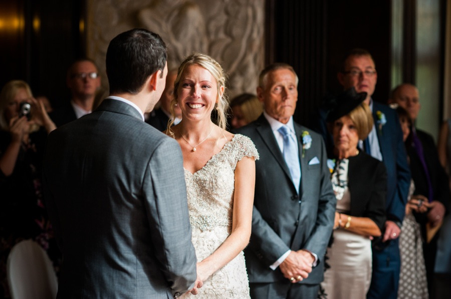 Bride smiling. wedding in Portmeirion. Wedding photographer, Celynnen Photography