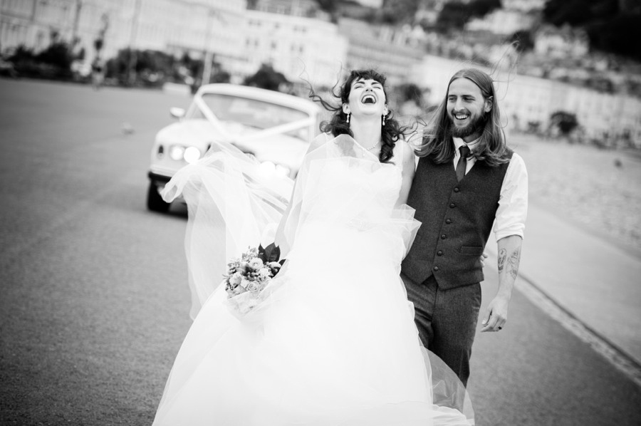 Bride and groom in llandudno on their wedding day. North Wales wedding photographer, Celynnen Photography