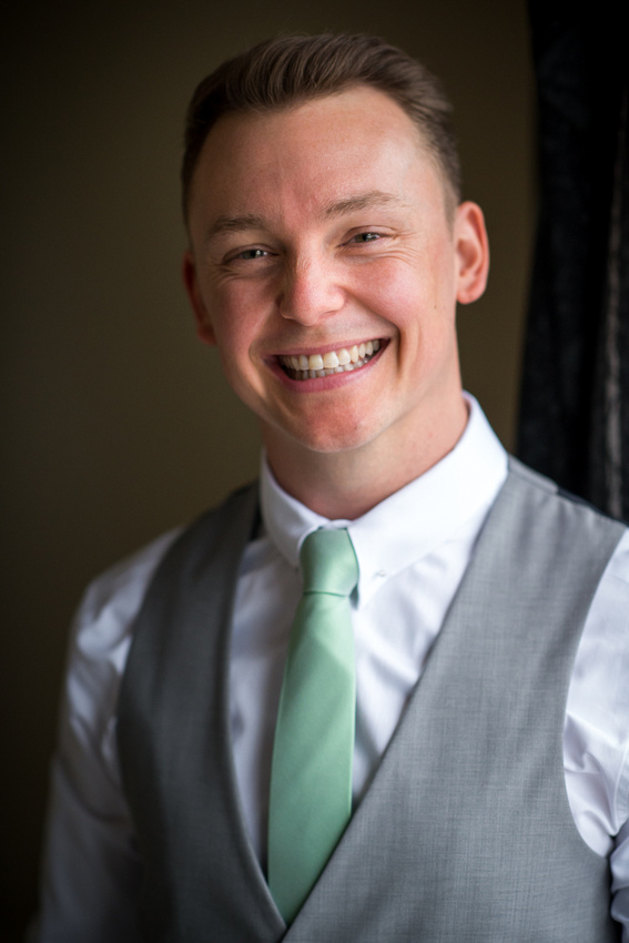 Portrait of the groom before his wedding day at Bodrhyddan Hall.