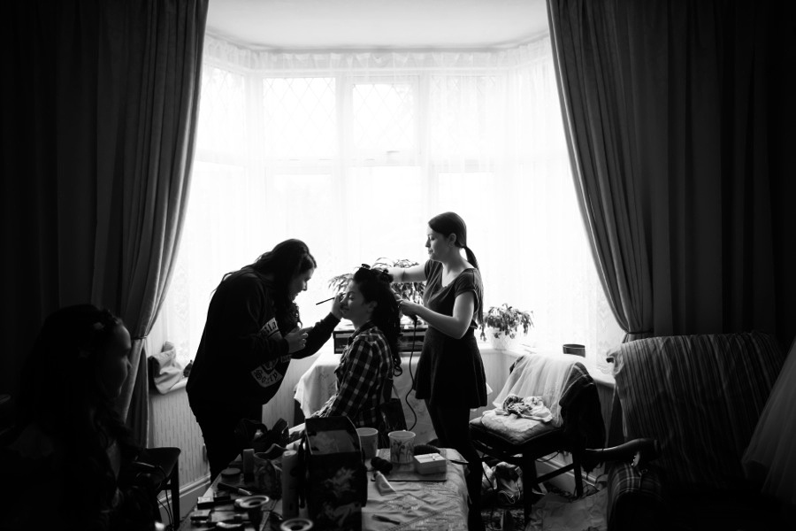 Bride getting ready before her wedding at Gwydir Castle - Wedding photographer, Celynnen Photography