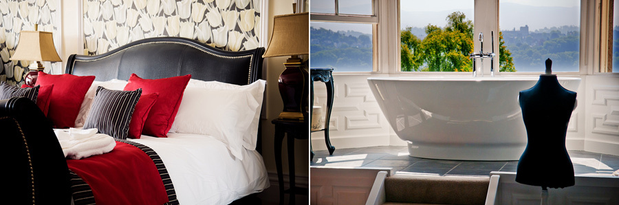 beautiful hotel rooms in anglesey including roll-top bath at Plas Rhianfa