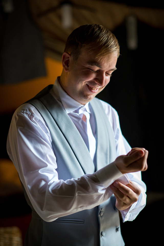 Image of the groom getting ready for his wedding day at Pentre Mawr.