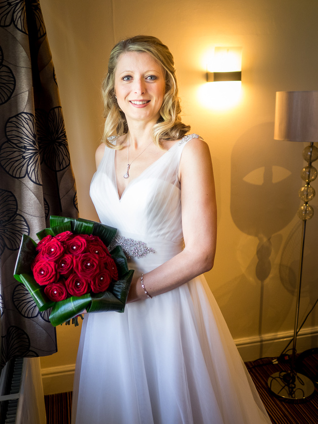 Portrait of the bride on her wedding day in Davenham, Cheshire.