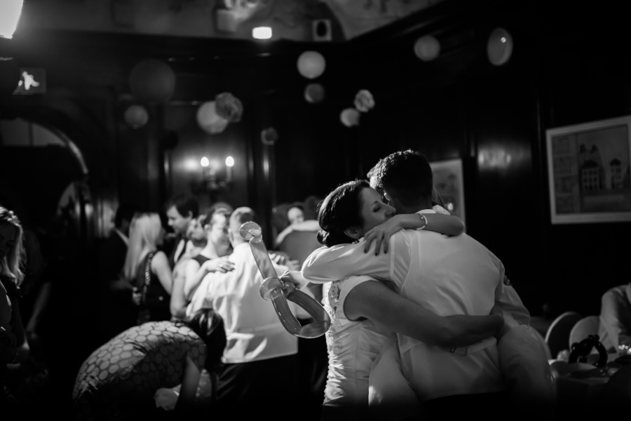Bride and Groom hugging on dance floor by Wedding Photographer Celynnen Photography