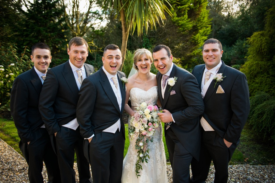 Bride with Groom, Best Man and Ushers by North Wales Wedding Photographer Celynnen Photography