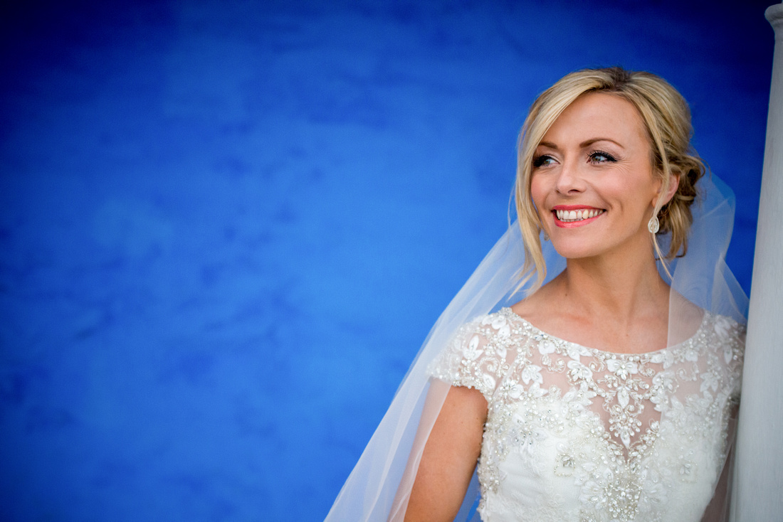 Portrait of the bride from her wedding day at Portmeirion.