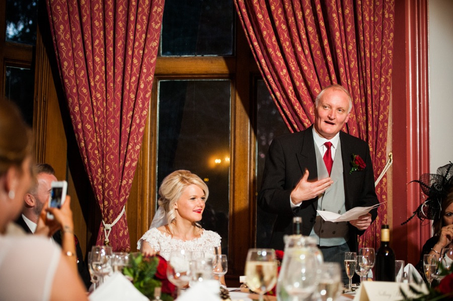 Father of the bride giving his speech at a wedding at Ruthin Castle.