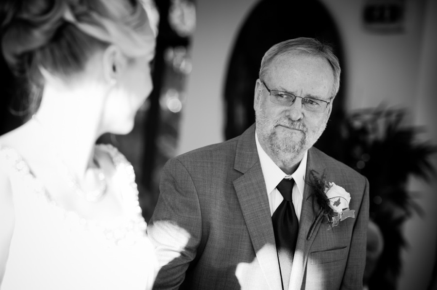 Father giving bride away at the altar by North Wales Wedding Photographer Celynnen Photography
