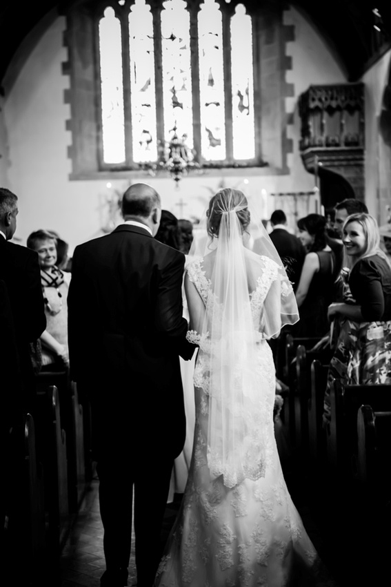 Bride Walking Down the Aisle with her Father by North Wales Wedding Photographer Celynnen Photography