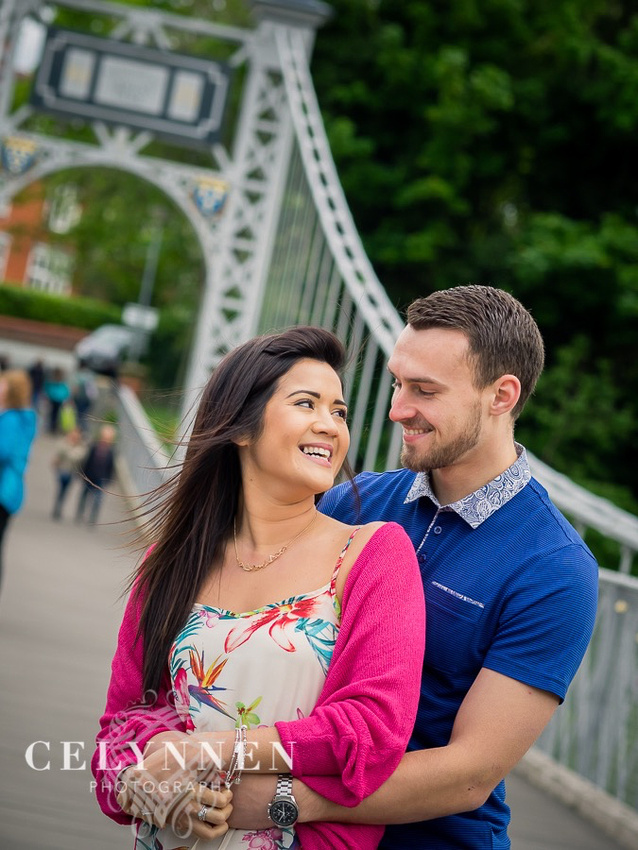 Celynnen Photography. Pre Wedding Shoot for Vanessa & Ash, photographed on the swing bridge over the River Dee, Chester.