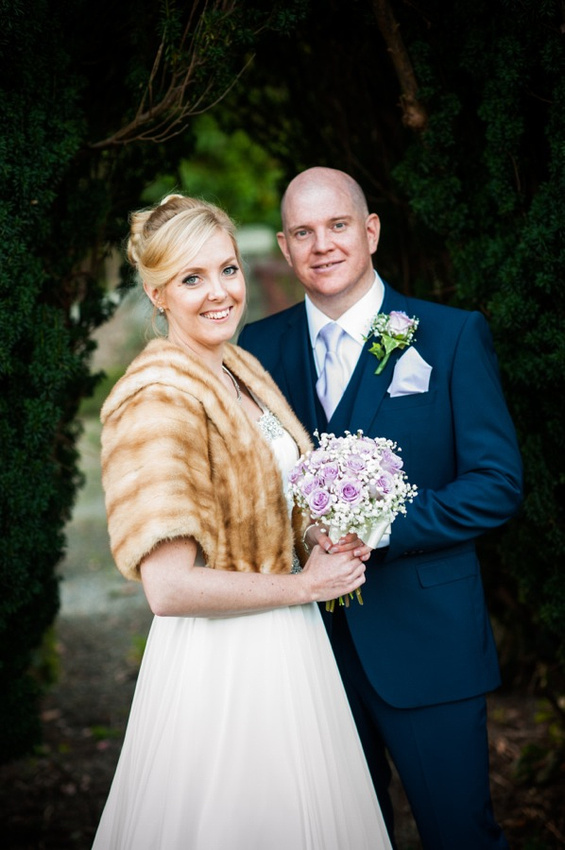 Bride and Groom portrait by North Wales Wedding Photographer Celynnen Photography