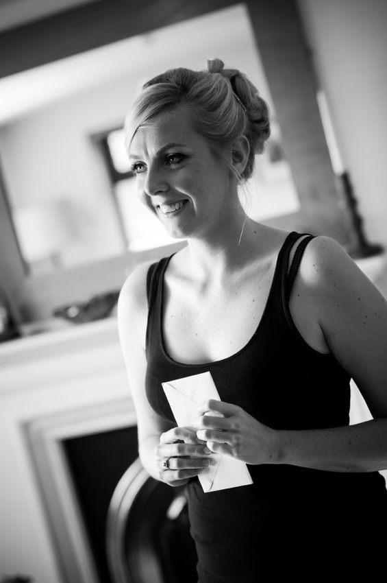 Bride smiling on the morning of her wedding day by North Wales Wedding Photographer Celynnen Photography