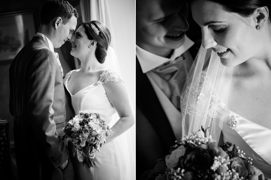 Black and white image of the bride and groom at their wedding reception at Tros-yr-Afon, Anglesey. Wedding Photographer, Celynnen Photography