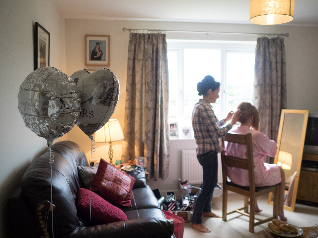 Image of the surroundings for the bridal preparations before heading to the wedding venue at Plas Isaf.