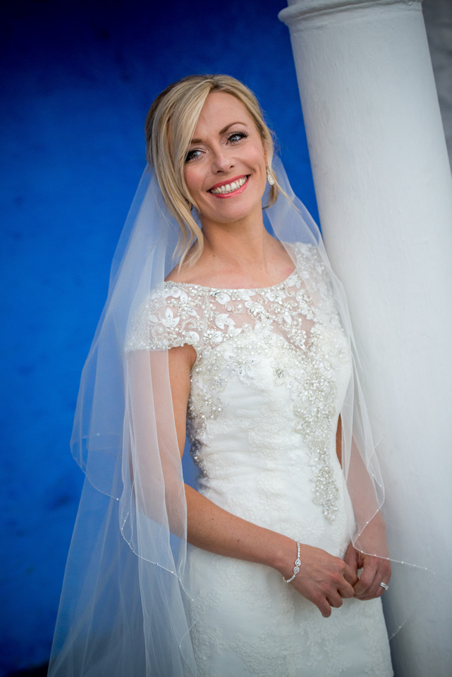 Colour portrait of the bride on her wedding day. Location is Portmeirion.
