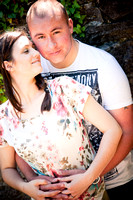 A couple having a close cuddle on their pre wedding shoot in Denbigh, North Wales