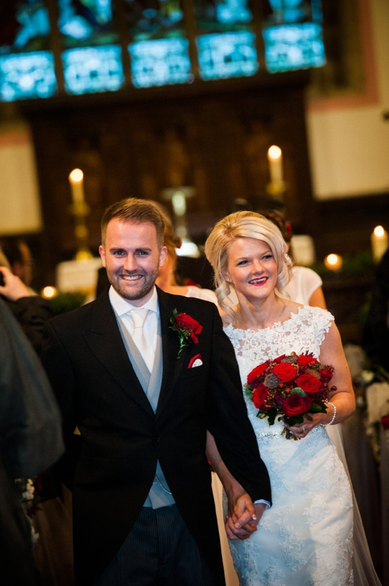 Bride and Groom at Church by Photographer Celynnen Photography