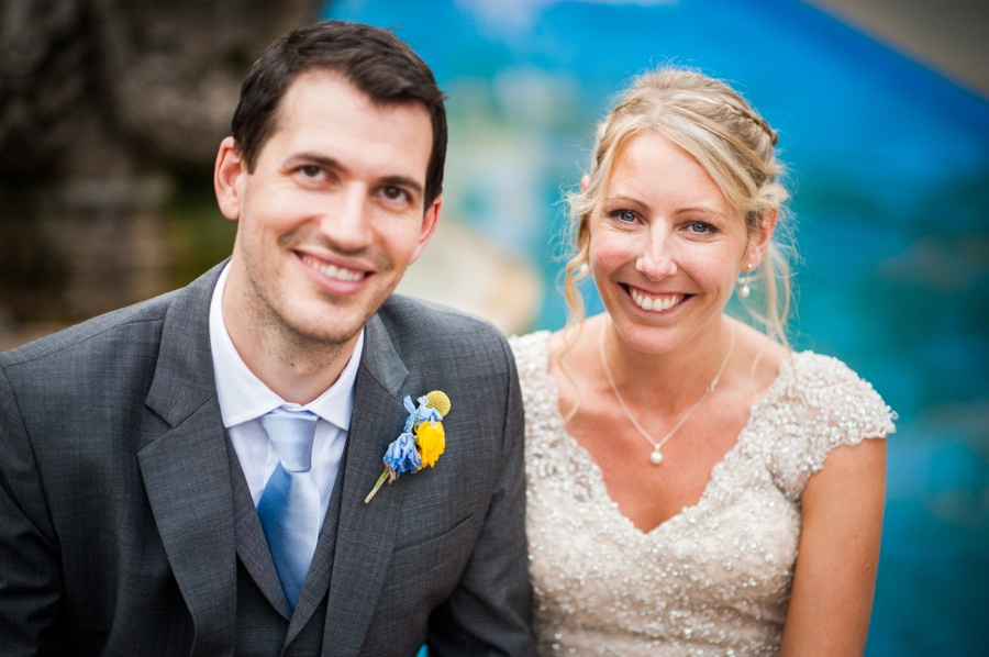 Hannah and Pete on  smiling on their wedding day in Portmeirion. Wedding Photographer, Celynnen Photography