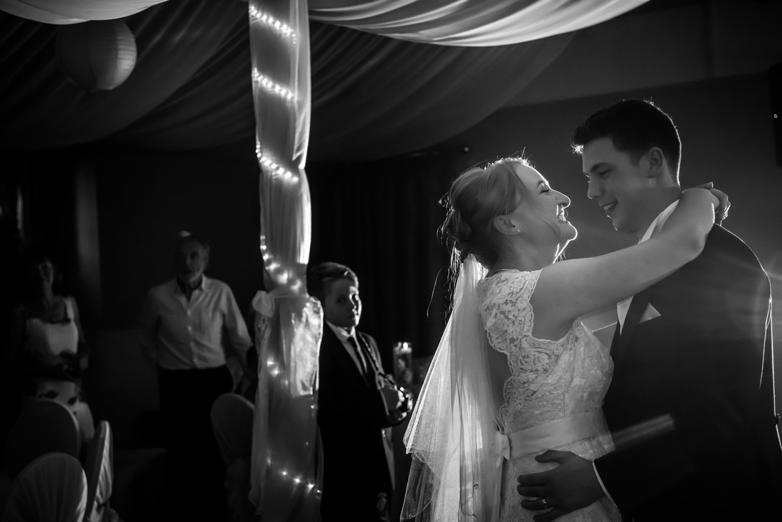 Black and white image of bride and groom's first dance from a wedding at The Kinmel, near Abergele.