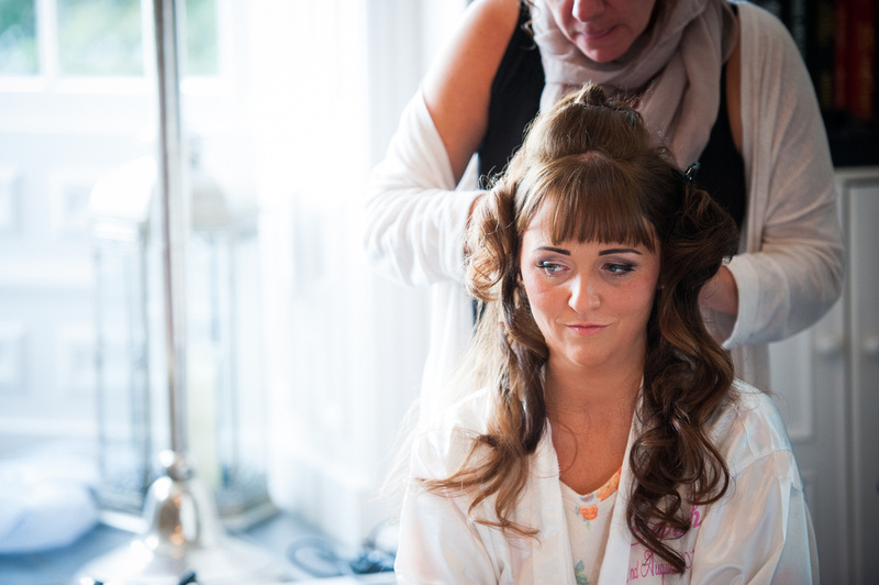 The bride getting ready before her wedding in Chateaux Rhianfa, Anglesey. Wedding Photographer, Celynnen Photography