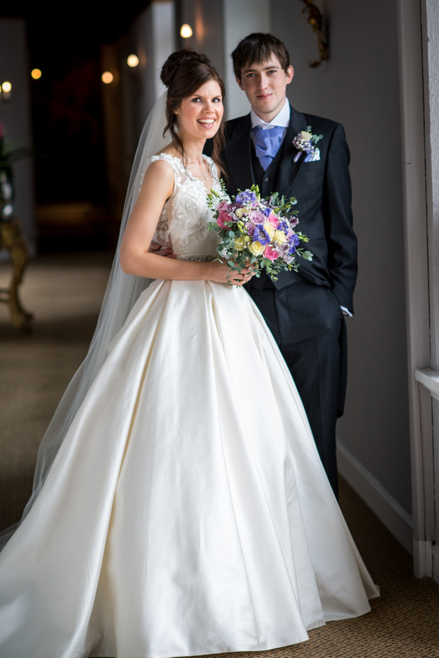 Portrait of the bride and groom from wedding at Ruthin Castle.