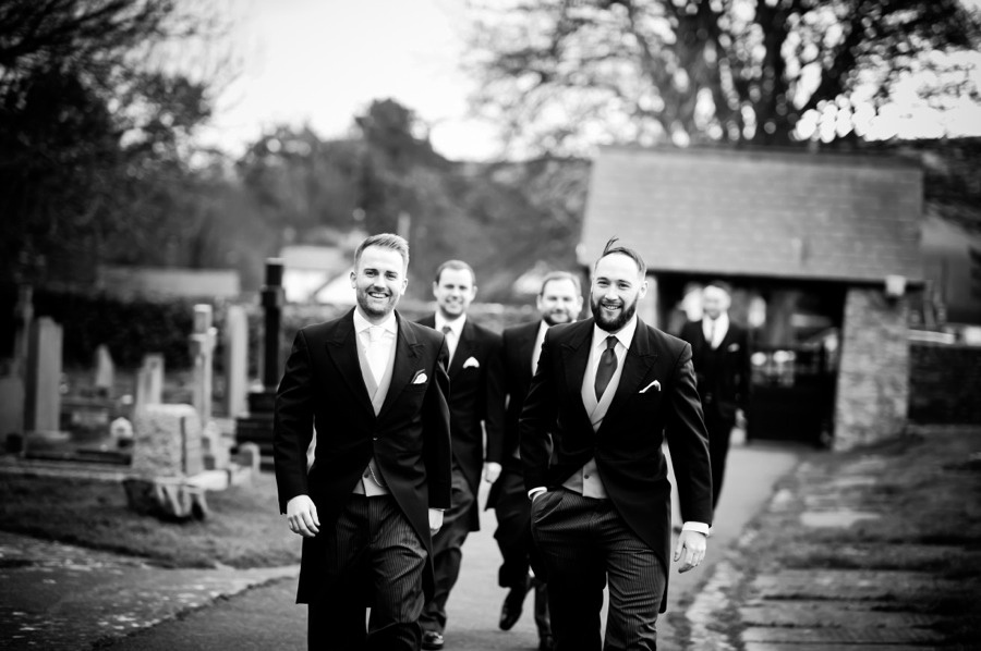 Groom and Ushers on Wedding Day by Photographer Celynnen Photography