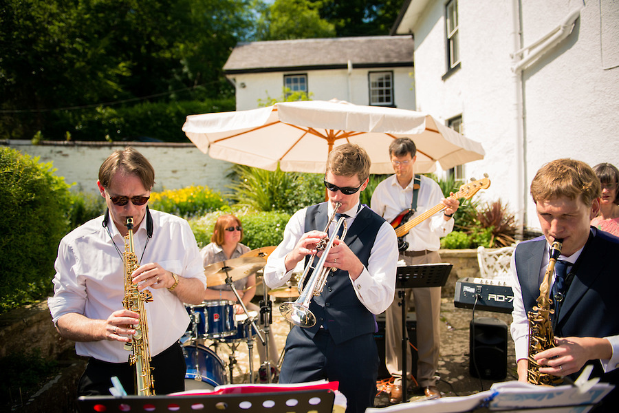 Music band at a wedding at Plas Hafod, in Mold.