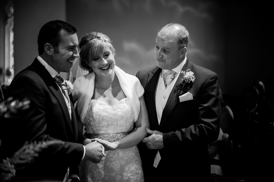 Bride with Groom and her Father by North Wales Wedding Photographer Celynnen Photography