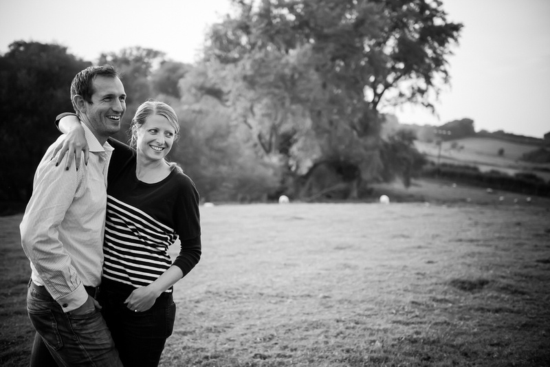 Black and white portrait of a couple on a pre wedding photoshoot.