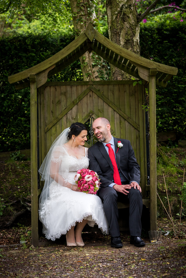 Image of the bride and groom after their wedding ceremony at Soughton Hall.