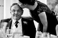 Father of the bride, being kissed on the head after his speech at Soughton Hall near Mold, Flintshire