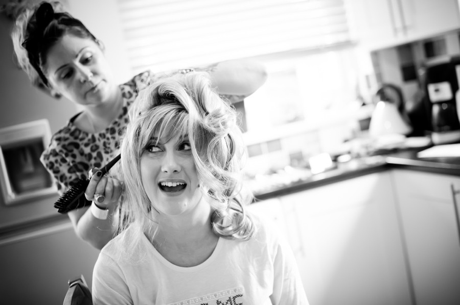 Bride having hair done by North Wales Wedding Photographer Celynnen Photography