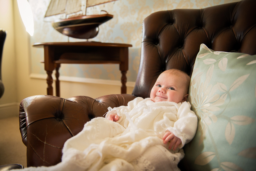 Amelia after she has been Christened, taken by Cellynnen Photography at Trearddur Bay Hotel