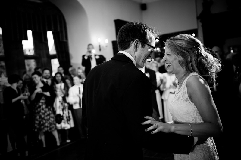 Photograph of the bride and the groom dancing at a wedding in Davenham.