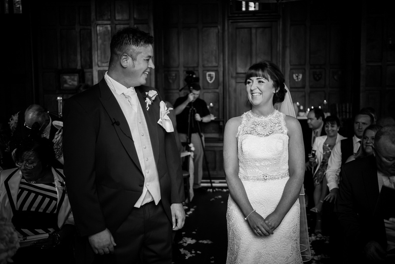 Black and white picture of the bride and groom in their wedding in Chateaux Rhianfa, Anglesey. Wedding Photographer, Celynnen Photography