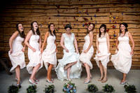 Bride and Bridesmaids having some fun at Tower Hill Barns near Llangollen, captured by Celynnen Photography