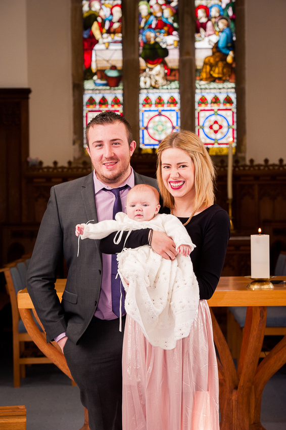 Amelia pictured with friends after the Christening service by Celynnen Photography.