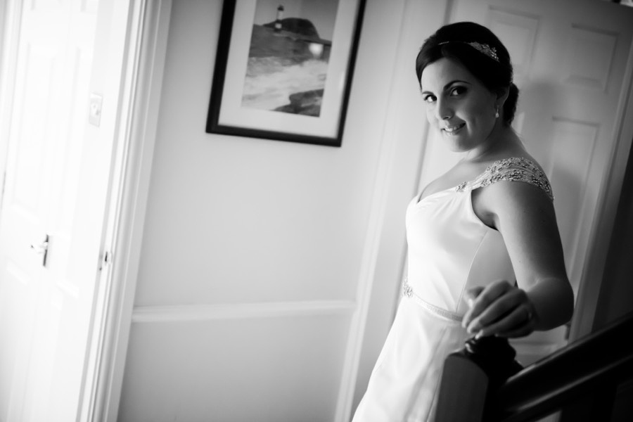 Amy in her beautiful Maggie Sottero dress before her wedding in Beaumaris