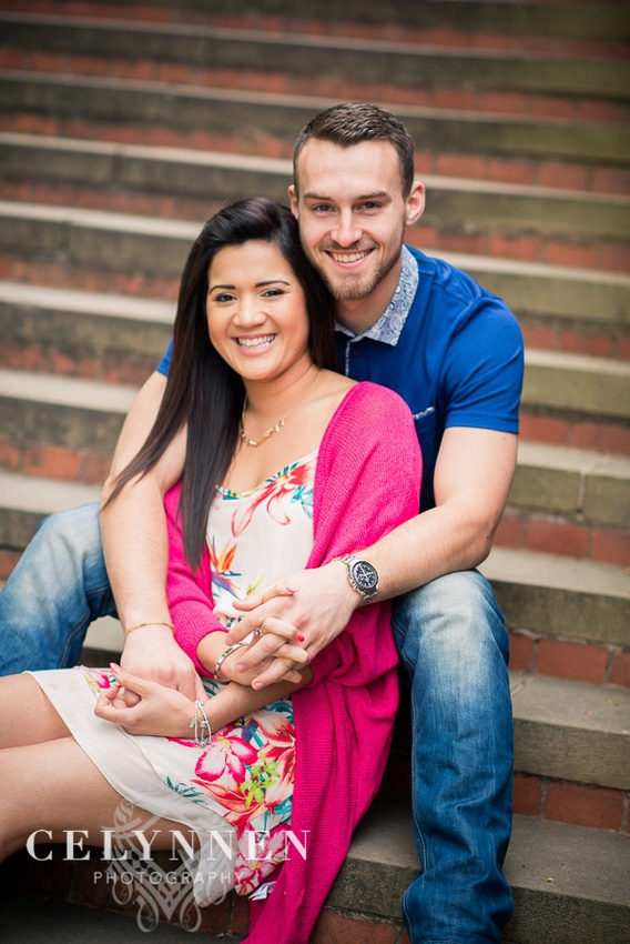 Celynnen Photography. Pre Wedding Shoot. Vanessa & Ash. Chester Grosvenor Park, photographed sitting on the steps.