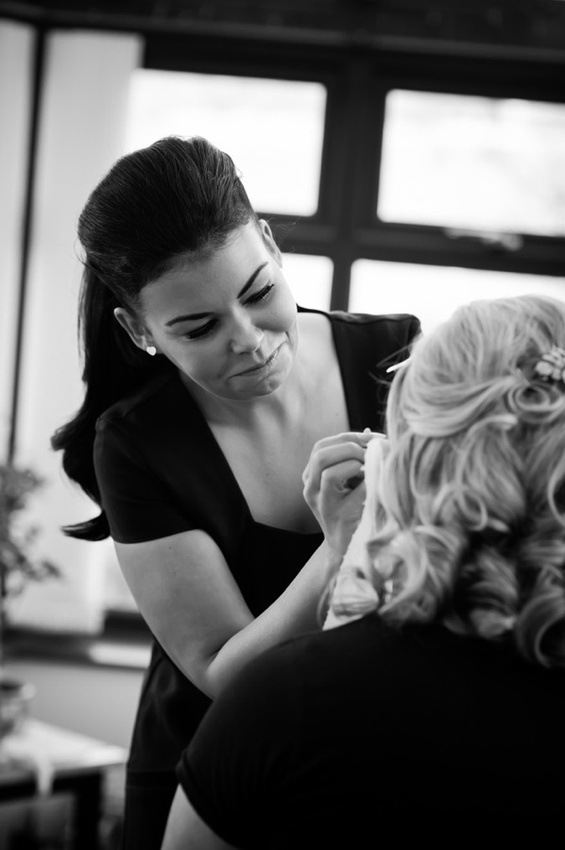 Bride having make up done before wedding by North Wales Wedding Photographer Celynnen Photography