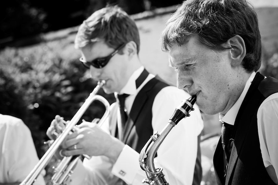 Musicians at a wedding at Plas hafod, in North Wales.
