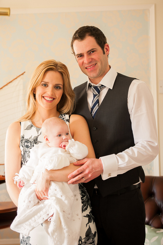 Amelia being held by her parents Bryn & Rebecca after the Christening at Trearddur Bay Hotel, Anglesey.