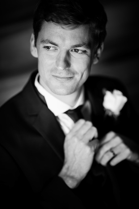 Black and white groom portrait from a wedding at Plas Hafod.