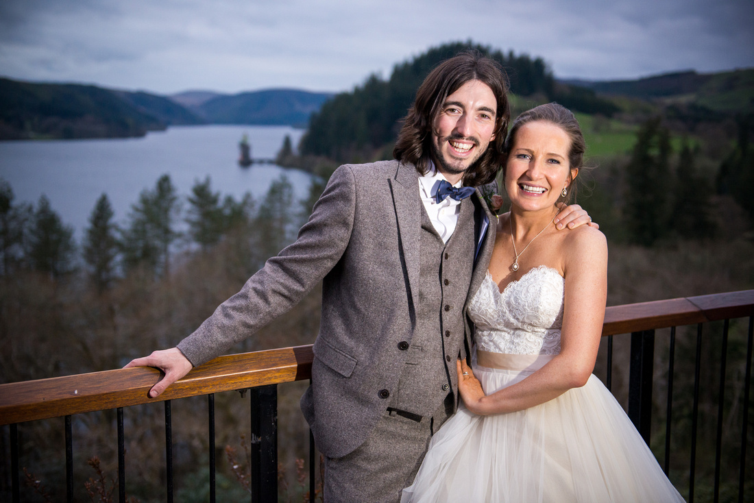 portraits of the bride and groom on their wedding day in Lake Vyrnwy