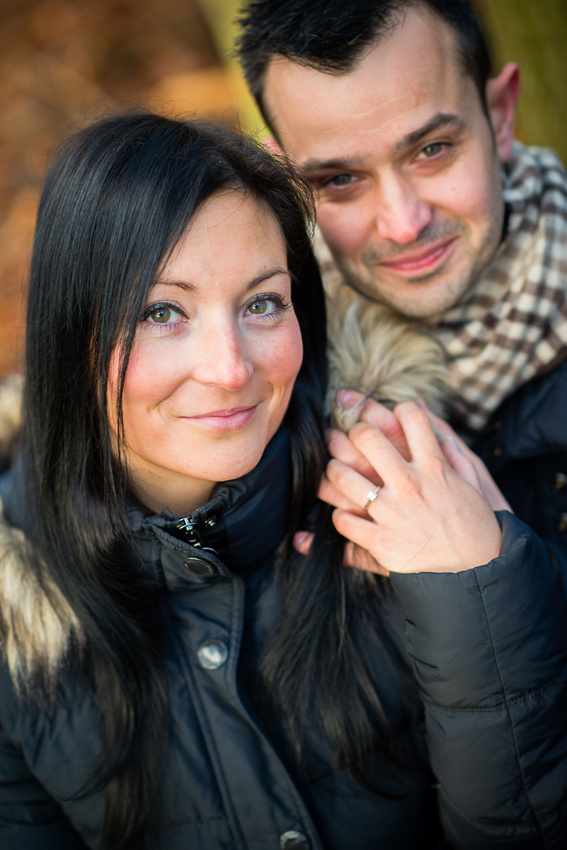 Portrait of an engaged couple on their pre wedding photoshoot in Delamere Forest with Celynnen Photography.