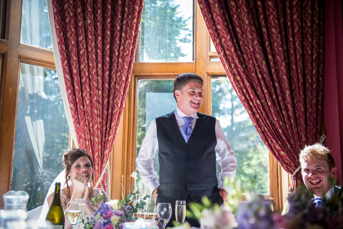 Photo of the father of the bride giving his speech at his daughters wedding at Ruthin Castle.