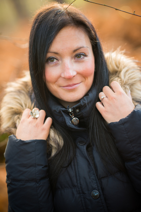 Portrait of engaged woman on her pre wedding photoshoot in Delamere Forest.