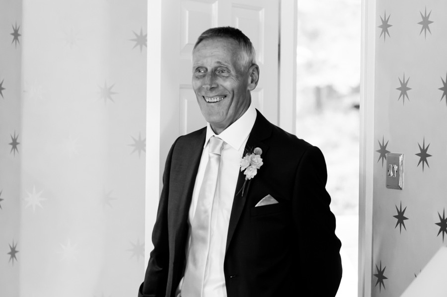 father of the bride smiling. wedding in Portmeirion. Wedding photographer, Celynnen Photography