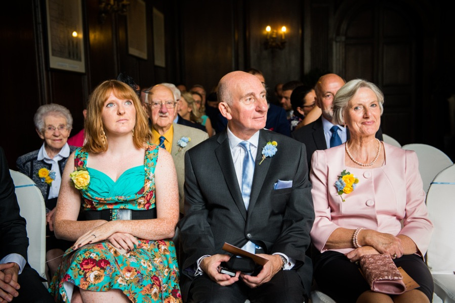 Guests at a wedding in Portmeirion. Wedding photographer, Celynnen Photography